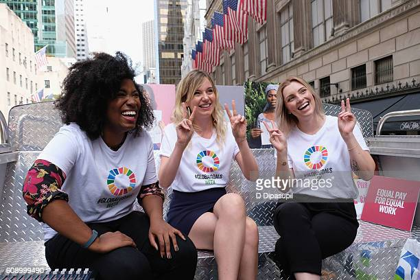 Akilah Hughes MJ Delaney and Estee Lalonde give an interview on top of the 2016 Global Goals Girls Bus on September 20 2016 in New York City