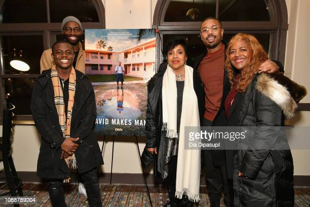 Akili McDowell Tarell Alvin McCraney Phylicia Rashad Michael B Jordan and Dee HarrisLawrence attend the David Makes Man premiere during the 2019...