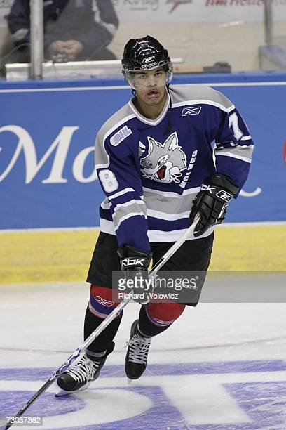 Akim Aliu of Team BurnsBergeron skates during the warmup session of the 2007 Home Hardware CHL/NHL Top Prospects Game against Team BowmanDemers at...