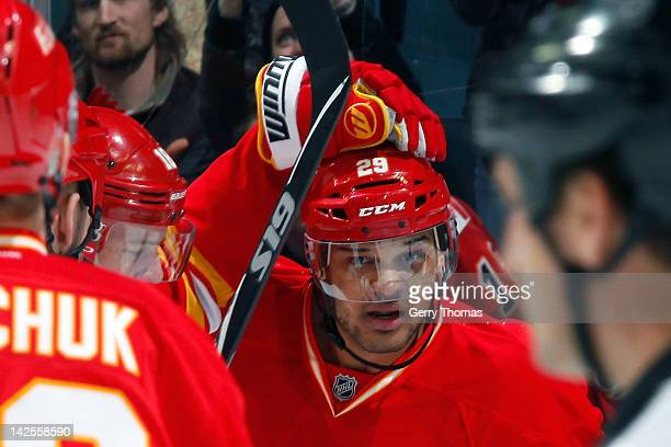 Akim Aliu of the Calgary Flames celebrates his first NHL goal against the Anaheim Ducks on April 7 2012 at the Scotiabank Saddledome in Calgary...