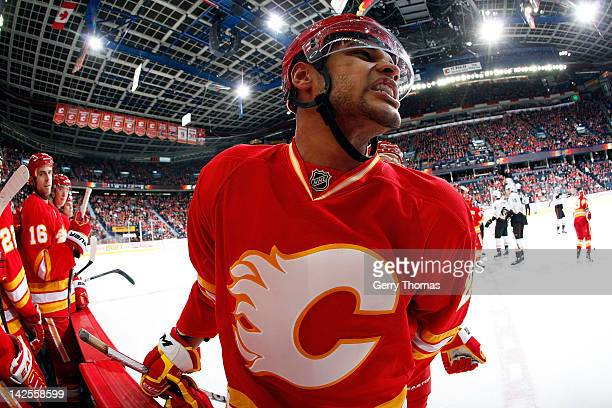 Akim Aliu of the Calgary Flames skates against the Anaheim Ducks on April 7 2012 at the Scotiabank Saddledome in Calgary Alberta Canada