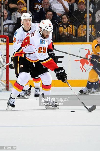 Akim Aliu of the Calgary Flames skates against the Nashville Predators at the Bridgestone Arena on April 23 2013 in Nashville Tennessee