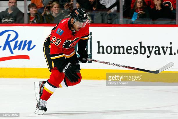 Akim Aliu of the Calgary Flames skates against the Vancouver Canucks on April 5 2012 at the Scotiabank Saddledome in Calgary Alberta Canada The...