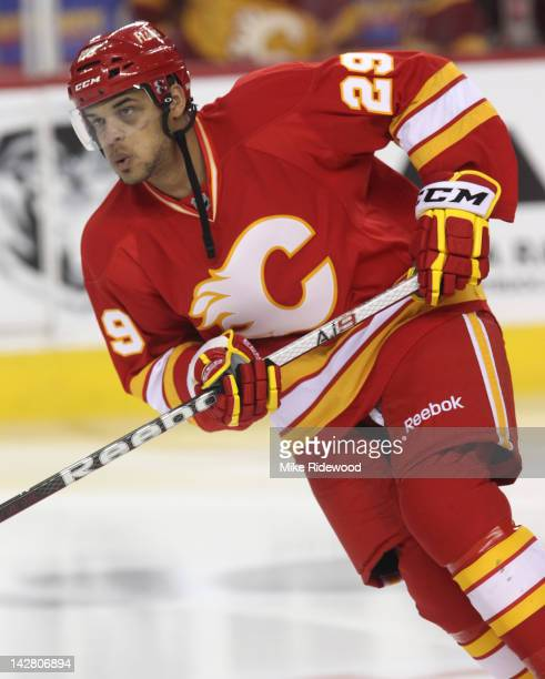 Akim Aliu of the Calgary Flames skates during the warm up before playing the Anaheim Ducks in NHL action on April 7 2012 at the Scotiabank Saddledome...
