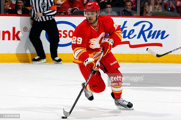 Akim Aliu of the Calgary Flames skates the Anaheim Ducks on April 7 2012 at the Scotiabank Saddledome in Calgary Alberta Canada The Flames won 52