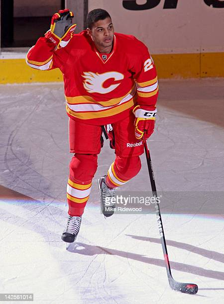 Akim Aliu of the Calgary Flames was the first star with two goals in his second NHL game against the Anaheim Ducks during in NHL action on April 7...