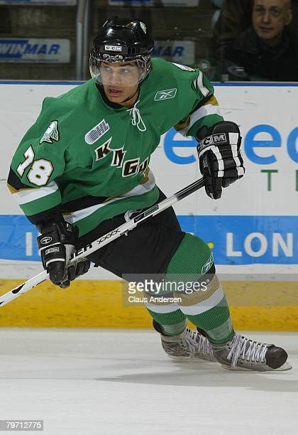 Akim Aliu of the London Knights skates in a game against the Niagara IceDogs on February 8, 2008 at the John Labatt Centre in London, Ontario. The...