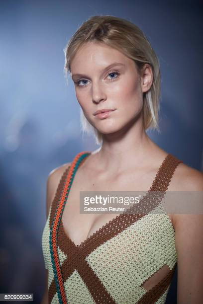 AKim Hnizdo is seen backstage ahead of the 3D Fashion Presented By Lexus/Voxelworld show during Platform Fashion July 2017 at Areal Boehler on July...