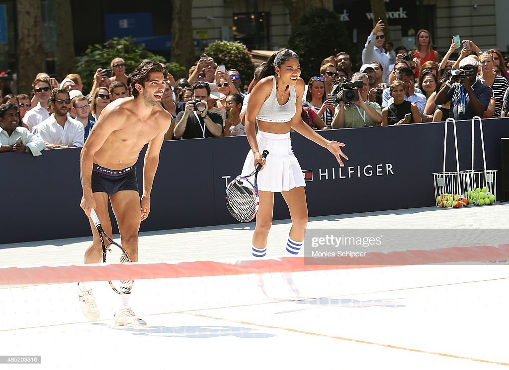 Akin Akman (L) and Chanel Iman attend the Tommy Hilfiger And Rafael Nadal Global Brand Ambassadroship Launch Event at Bryant Park on August 25, 2015 in New York City.