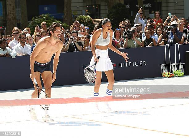 Akin Akman and Chanel Iman attend the Tommy Hilfiger And Rafael Nadal Global Brand Ambassadroship Launch Event at Bryant Park on August 25 2015 in...