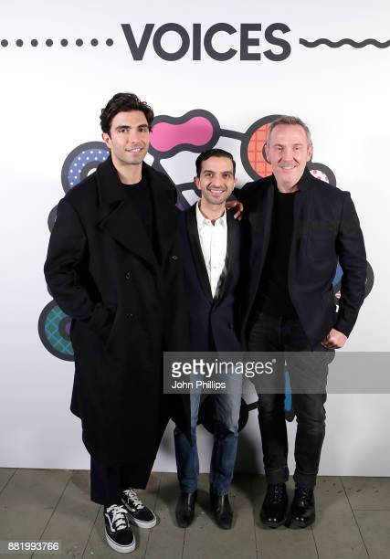 Akin Akman Imran Amed and Trey Laird attend the welcome dinner during #BoFVOICES on November 29 2017 in Oxfordshire England
