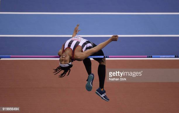 Akin Coward of Shaftesbury B competes in the mens high jump final during the SPAR British Athletics Indoor Championships at Arena Birmingham on...