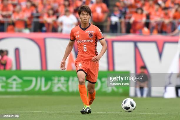 Akinari Kawazura of Omiya Ardija in action during the JLeague J2 match between Omiya Ardija and JEF United Chiba at Nack 5 Stadium Omiya on May 6...