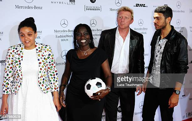 Akini Obama Auma Obama Boris Becker and Noah Becker arrive for the Minx By Eva Lux Show at MercedesBenz Fashion Week Spring/Summer 2013 on July 7...