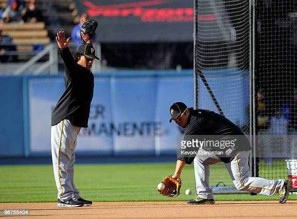 Akinori Iwamura and Delwyn Young of the Pittsburgh Pirates during batting practcie prior to the start of the baseball game against Los Angeles...