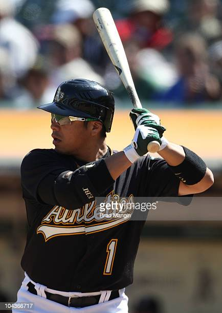 Akinori Iwamura of the Oakland Athletics bats against the Chicago White Sox during the game at the OaklandAlameda County Coliseum on September 22...