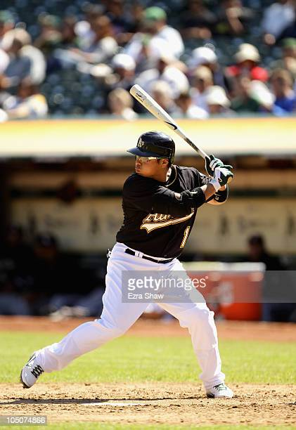 Akinori Iwamura of the Oakland Athletics bats against the Chicago White Sox at the OaklandAlameda County Coliseum on September 22 2010 in Oakland...