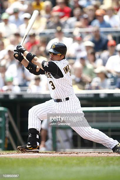 Akinori Iwamura of the Pittsburgh Pirates follows through on a swing during the game between the Atlanta Braves and the Pittsburgh Pirates on Sunday...