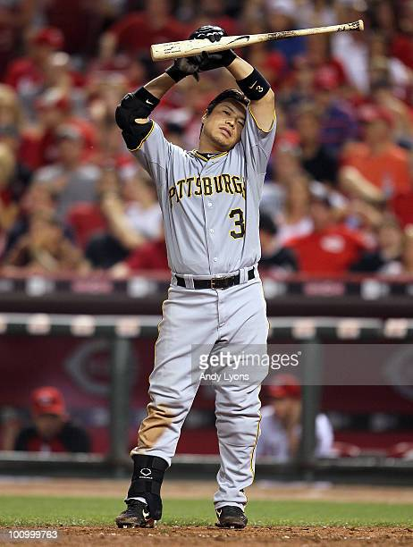 Akinori Iwamura of the Pittsburgh Pirates is pictured during the game against the Cincinnati Reds at Great American Ball Park on May 26 2010 in...