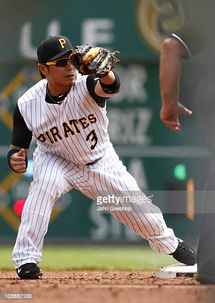 Akinori Iwamura of the Pittsburgh Pirates makes the play at second base during the game between the Atlanta Braves and the Pittsburgh Pirates on...
