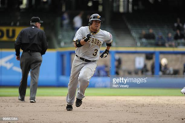 Akinori Iwamura of the Pittsburgh Pirates runs the bases against the Milwaukee Brewers on April 28 2010 at Miller Park in Milwaukee Wisconsin The...