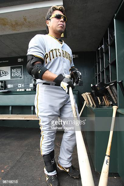 Akinori Iwamura of the Pittsburgh Pirates standing in the dugout prior to the game against the San Francisco Giants at ATT Park on April 14 2010 in...
