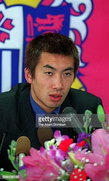 Akinori Nishizawa of Cerezo Osaka speaks during a press conference about his move to Spain's Espanyol on November 27 2000 in Osaka Japan