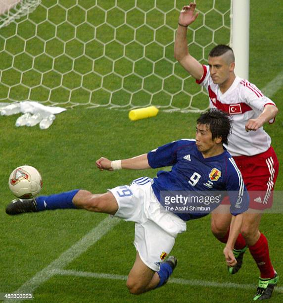 Akinori Nishizawa of Japan in action during the FIFA World Cup Korea/Japan round of 16 match between Japan and Turkey at Miyagi Stadium on June 18...