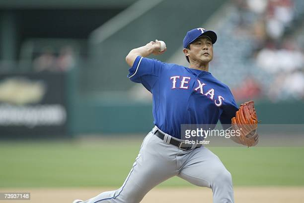 Akinori Otsuka of the Texas Rangers pitches during the game against the Los Angeles Angels of Anaheim at Angel Stadium in Anaheim California on April...