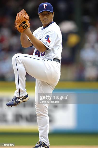 Akinori Otsuka of the Texas Rangers pitches during the game against the Boston Red Sox at Rangers Ballpark in Arlington in Arlington Texas on April 6...