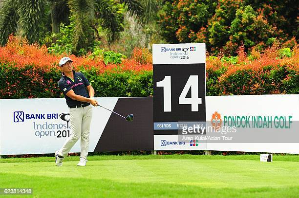 Akinori Tani of Japan plays a shot during round one of the BANK BRIJCB Indonesia Open at Pondok Indah Golf Course on November 17 2016 in Jakarta...