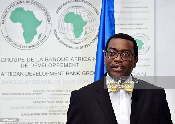 Akinwumi Adesina president of the African Development Bank delivers a speech on September 17 2015 for the launch of a highlevel meeting focusing on...