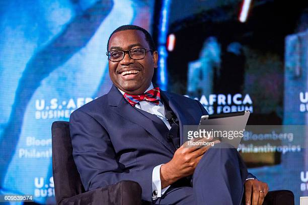 Akinwumi Ayodeji Adesina president of the African Development Bank smiles during the USAfrica Business Forum in New York US on Wednesday Sept 21 2016...