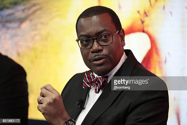 Akinwumi Ayodeji Adesina president of the African Development Bank speaks during a panel session at the World Economic Forum in Davos Switzerland on...