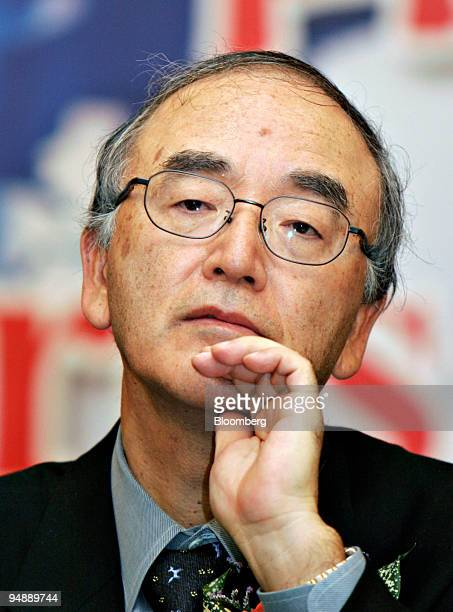 Akio Mimura president of Nippon Steel Corp listens during a news conference at the opening of the BaosteelNSC/Arcelor Automotive Steel Sheets Co...