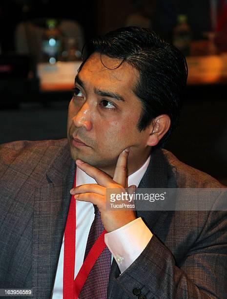 Akio Tamashiro looks on during the presentation of the XV Gimnasiada 2013 as part of XIX Sports Minister of America and Iberoamerica Meeting...