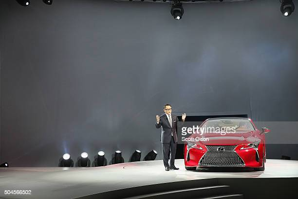 Akio Toyoda president and CEO of Toyota Motor Corporation introduces the Lexus LC 500 coupe at the North American International Auto Show on January...