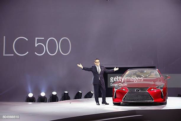 Akio Toyoda, president and CEO of Toyota Motor Corporation, introduces the Lexus LC 500 coupe at the North American International Auto Show on...