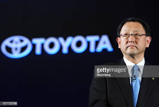 Akio Toyoda president and chief executive officer of Toyota Motor Corp attends the unveiling of the company's new Vitz compact car in Yokohama Japan...