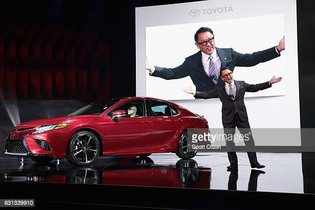 Akio Toyoda President and member of the board of directors at Toyota introduces the allnew 2018 Camry at the North American International Auto Show...