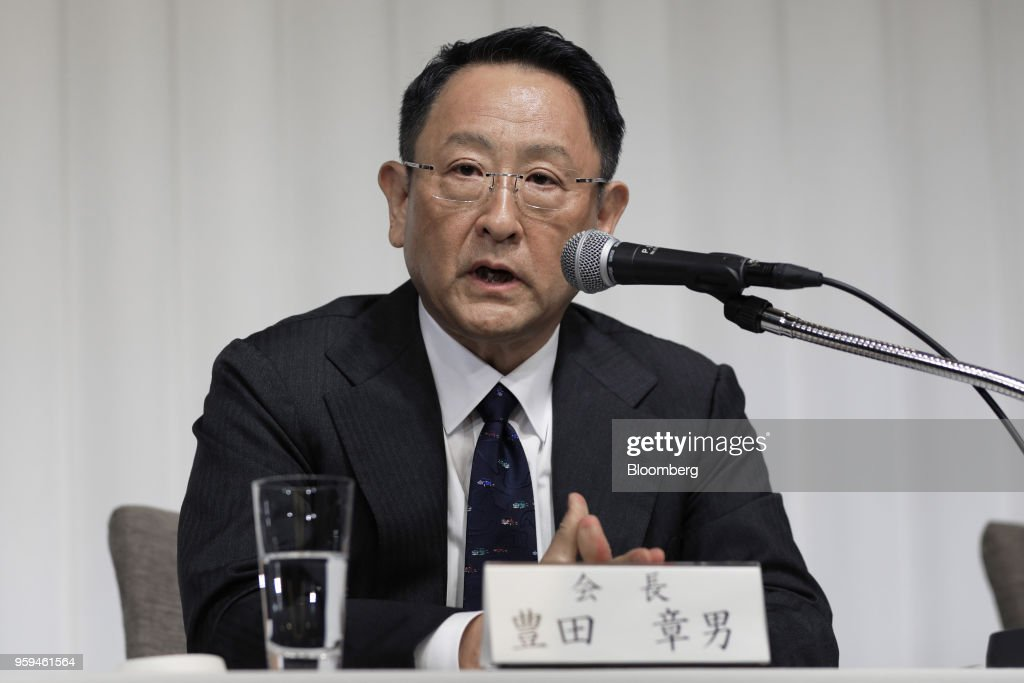 Akio Toyoda, president of Toyota Motor Corp. and new chairman of Japan Automobile Manufacturers Association Inc. (JAMA), speaks during a news conference in Tokyo, Japan, on Thursday, May 17, 2018. Toyoda became the chairman of JAMA today. Photographer: Kiyoshi Ota/Bloomberg via Getty Images