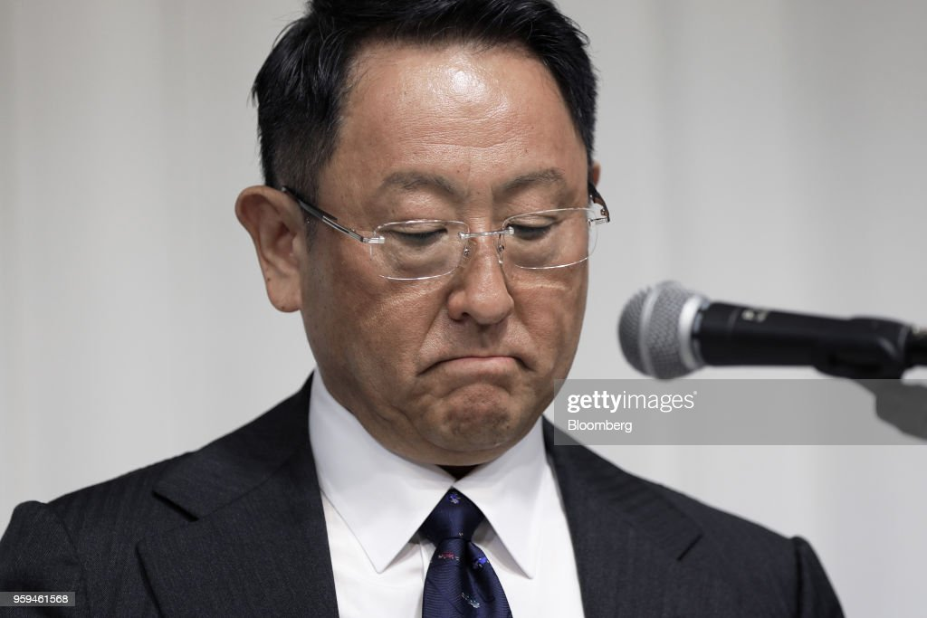 Akio Toyoda, president of Toyota Motor Corp. and new chairman of Japan Automobile Manufacturers Association Inc. (JAMA), pauses during a news conference in Tokyo, Japan, on Thursday, May 17, 2018. Toyoda became the chairman of JAMA today. Photographer: Kiyoshi Ota/Bloomberg via Getty Images