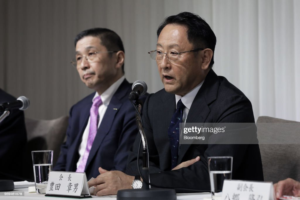 Akio Toyoda, president of Toyota Motor Corp. and new chairman of Japan Automobile Manufacturers Association Inc. (JAMA), right, speaks while Hiroto Saikawa, president and chief executive officer of Nissan Motor Co. and one of the vice chairmen of JAMA, looks on during a news conference in Tokyo, Japan, on Thursday, May 17, 2018. Toyoda became the chairman of JAMA today. Photographer: Kiyoshi Ota/Bloomberg via Getty Images