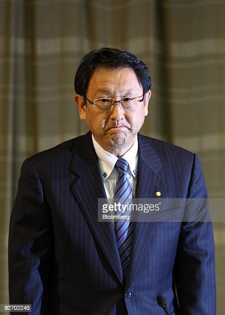Akio Toyoda president of Toyota Motor Corp arrives for a news conference in Tokyo Japan on Wednesday Nov 4 2009 Toyota Motor Corp the world's largest...