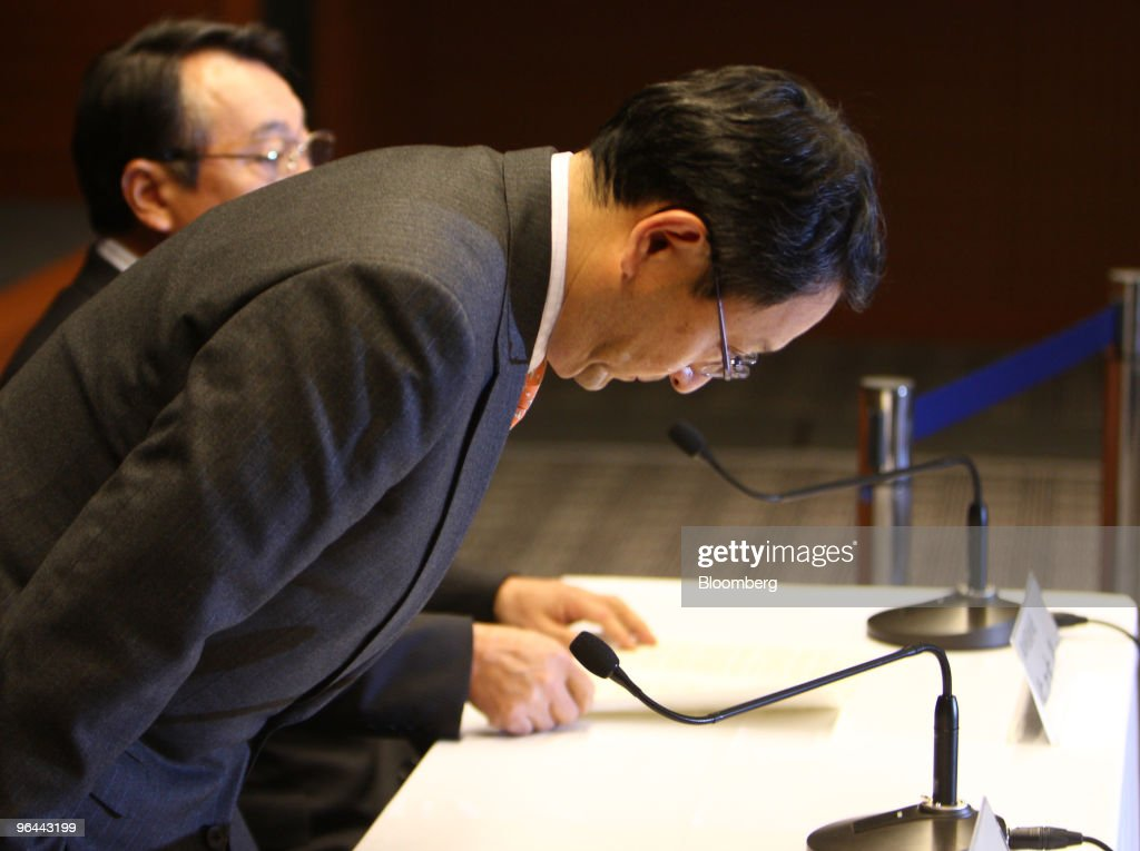 Akio Toyoda, president of Toyota Motor Corp., bows as he arrives for a news conference in Nagoya, Japan, on Friday, Feb. 5, 2010. Toyota Motor Corp.'s U.S. recall of 5.6 million vehicles for possible unintended acceleration may spur regulators to require braking technology that prevents such sudden bursts of speed in all future vehicles. Photographer: Tomohiro Ohsumi/Bloomberg via Getty Images