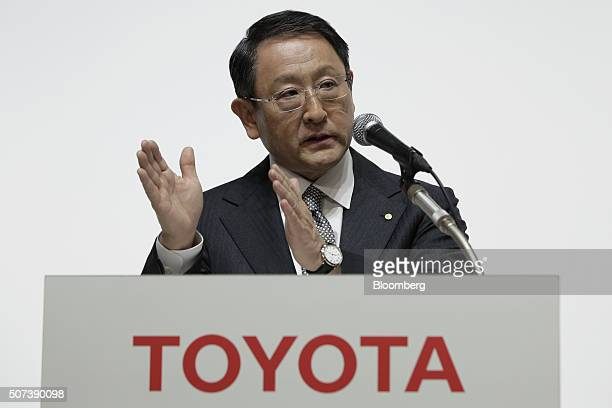 Akio Toyoda president of Toyota Motor Corp gestures as he speaks during a joint news conference with Masanori Mitsui president of Daihatsu Motor Co...