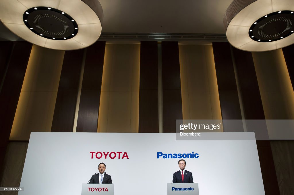 Toyota Motor President Akio Toyoda And Panasonic Corp. President Kazuhiro Tsuga Hold News Conference On Joint Business