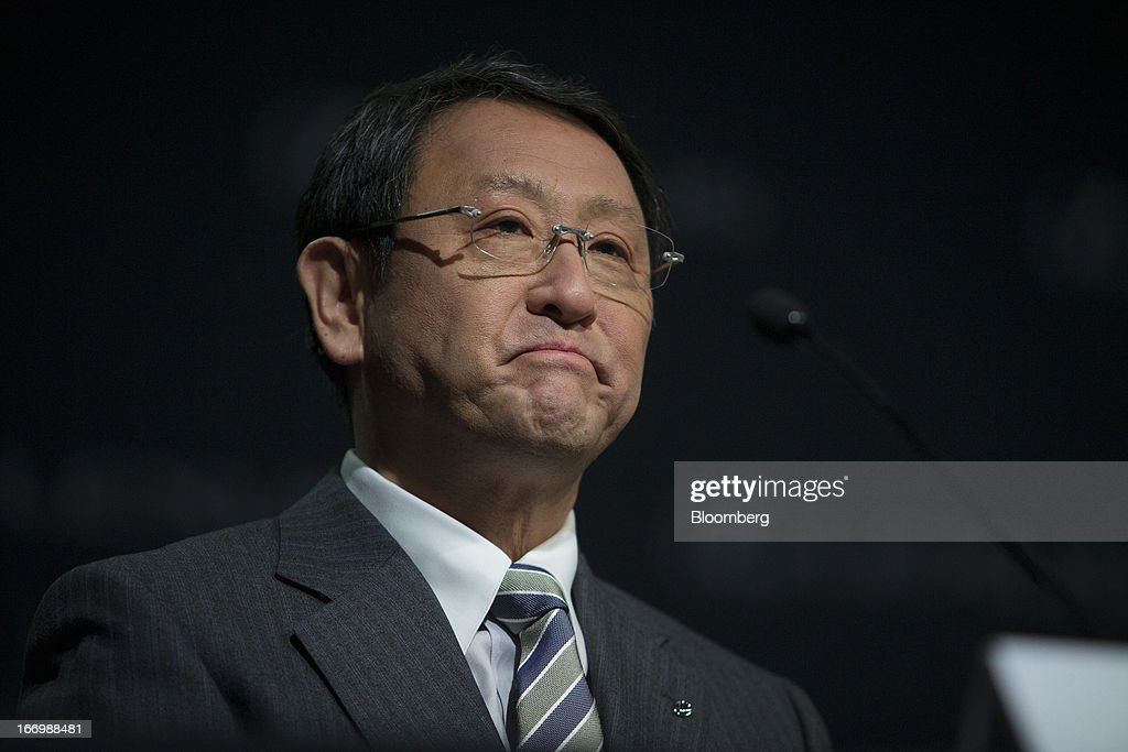 Akio Toyoda, president of Toyota Motor Corp., pauses during a news conference in New York, U.S., on Friday, April 19, 2013. Toyota Motor Corp. plans to build Lexus ES 350 sedans in Kentucky, the first U.S. production for its luxury brand, Toyoda pushes to localize output in the automaker's biggest markets. Photographer: Scott Eells/Bloomberg via Getty Images