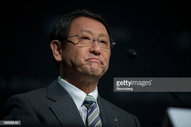 Akio Toyoda president of Toyota Motor Corp pauses during a news conference in New York US on Friday April 19 2013 Toyota Motor Corp plans to build...