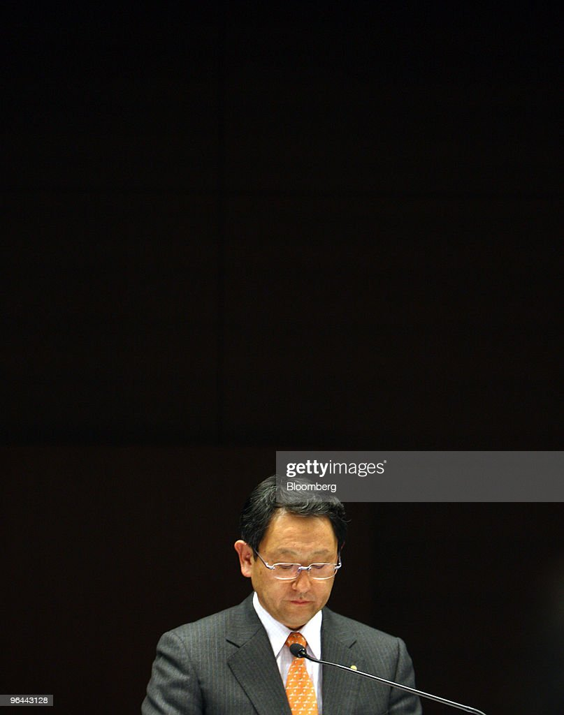 Akio Toyoda, president of Toyota Motor Corp., pauses during a news conference in Nagoya, Japan, on Friday, Feb. 5, 2010. Toyoda apologized for the company's growing recall crisis in his first public appearance since the company halted U.S. sales and production of its best-selling models last month. Photographer: Tomohiro Ohsumi/Bloomberg via Getty Images